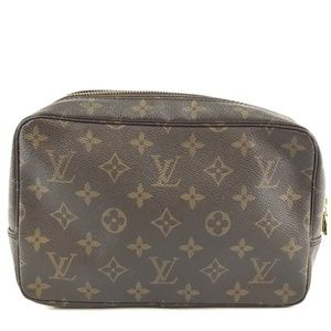 Cosmetic Case Trousse Brown Monogram Canvas Clutch